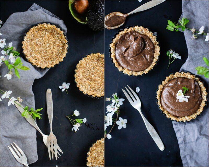 vegan törtchen tarte raw dattel kokosnuss avocado schokolade creme trickytine ihana