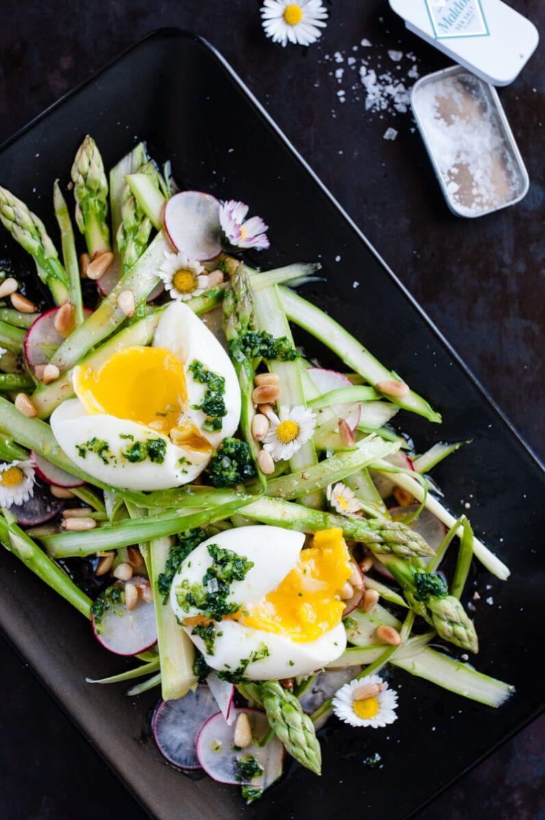 grüner spargel salat radieschen ei trickytine