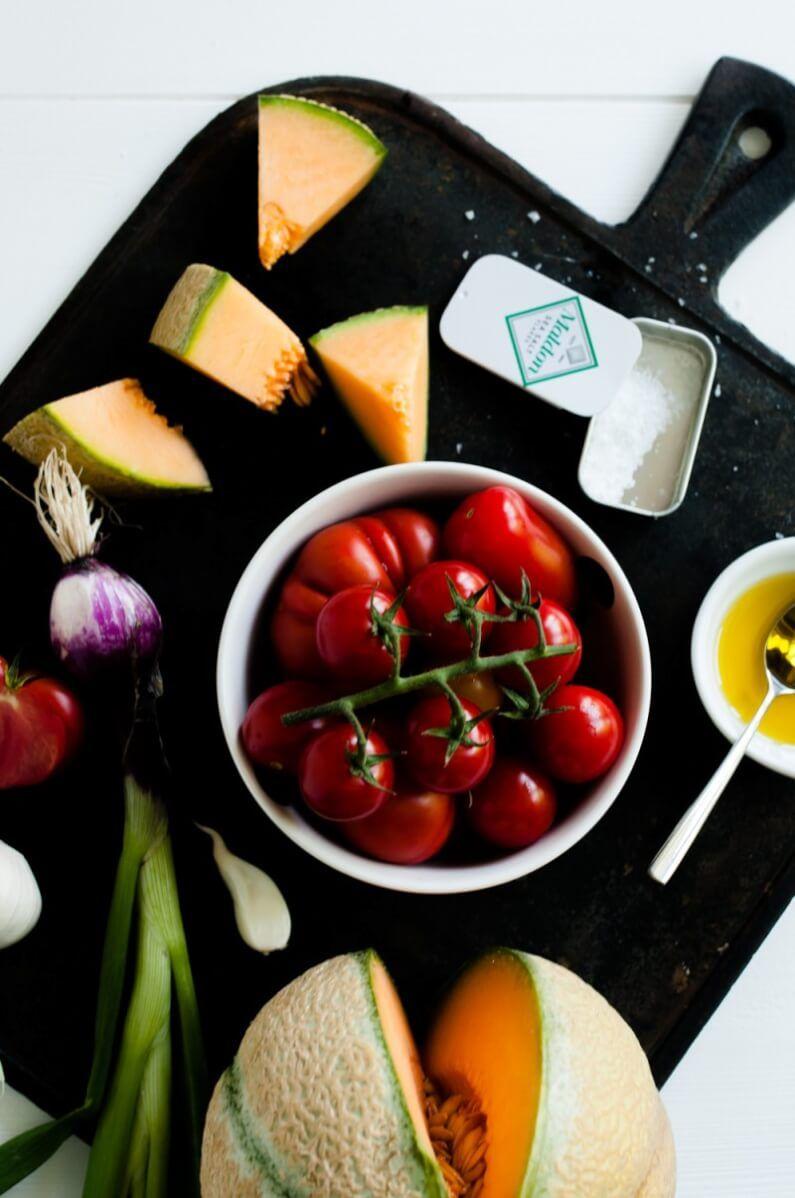 trickytine cantaloupe melonen tomaten gazpacho