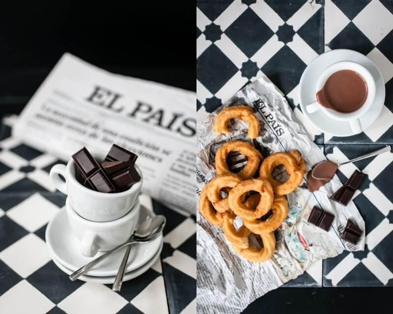 churros con chocolate trickytine spanien barcelona