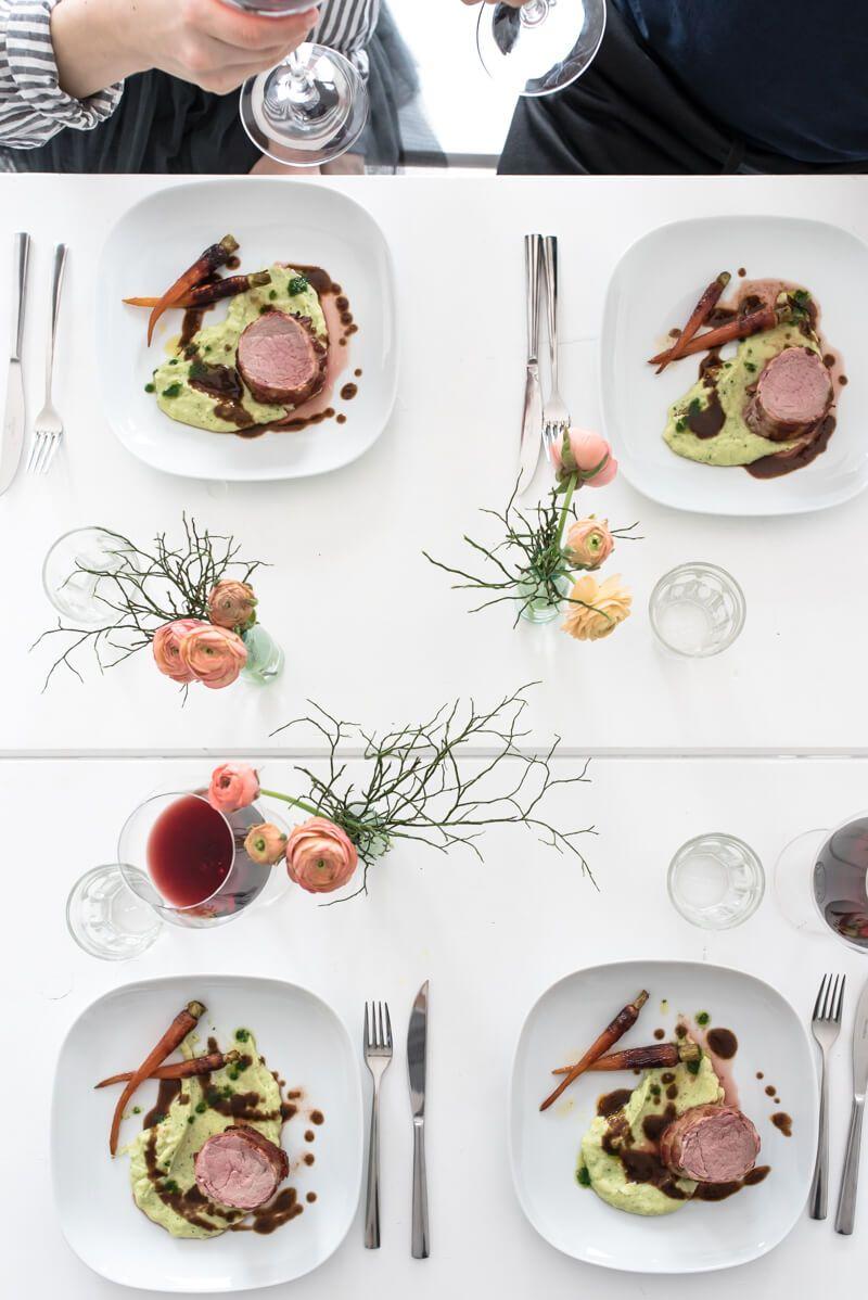 fruehlingsmenue kalbsfilet kartoffelstampf rotweinjus dolcevita trickytine bauchgold