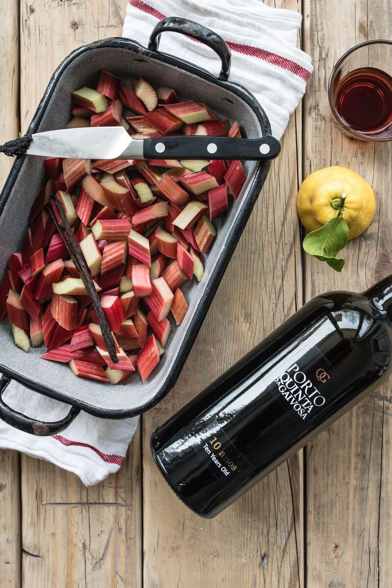 süßer polentabrei rhabarber portwein kompott mohnnussbutter trickytine