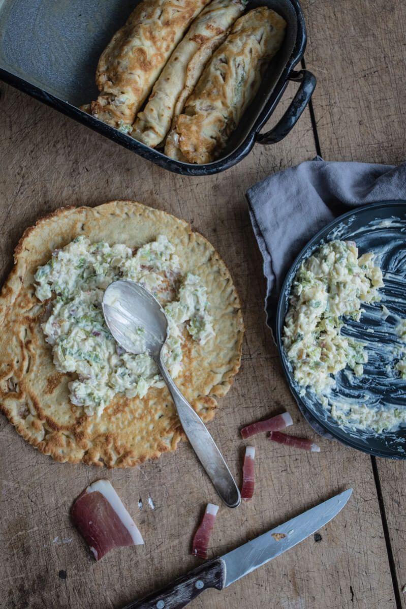 speck butter crispelle wirsing gratiniert trickytine