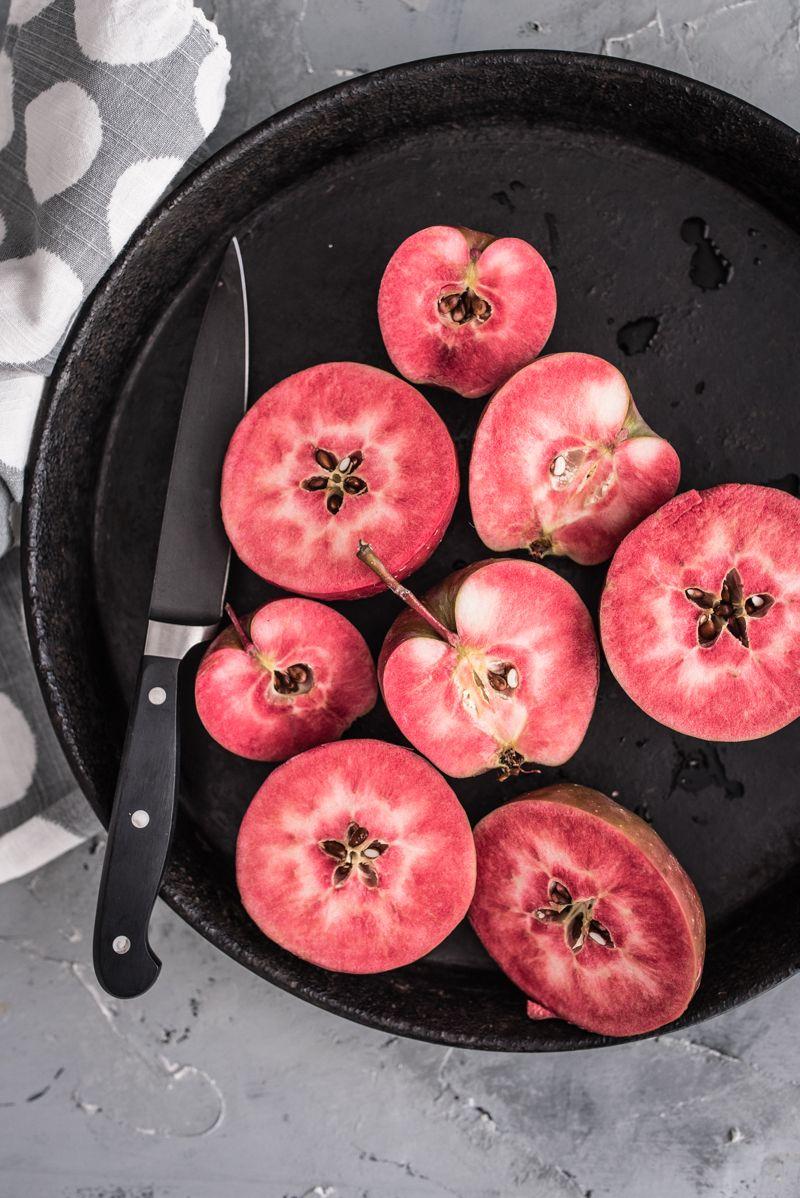 versunkener obstkuchen marzipan apfel rotfleischig trickytine