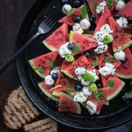 wassermelonensalat labneh trickytine rezept