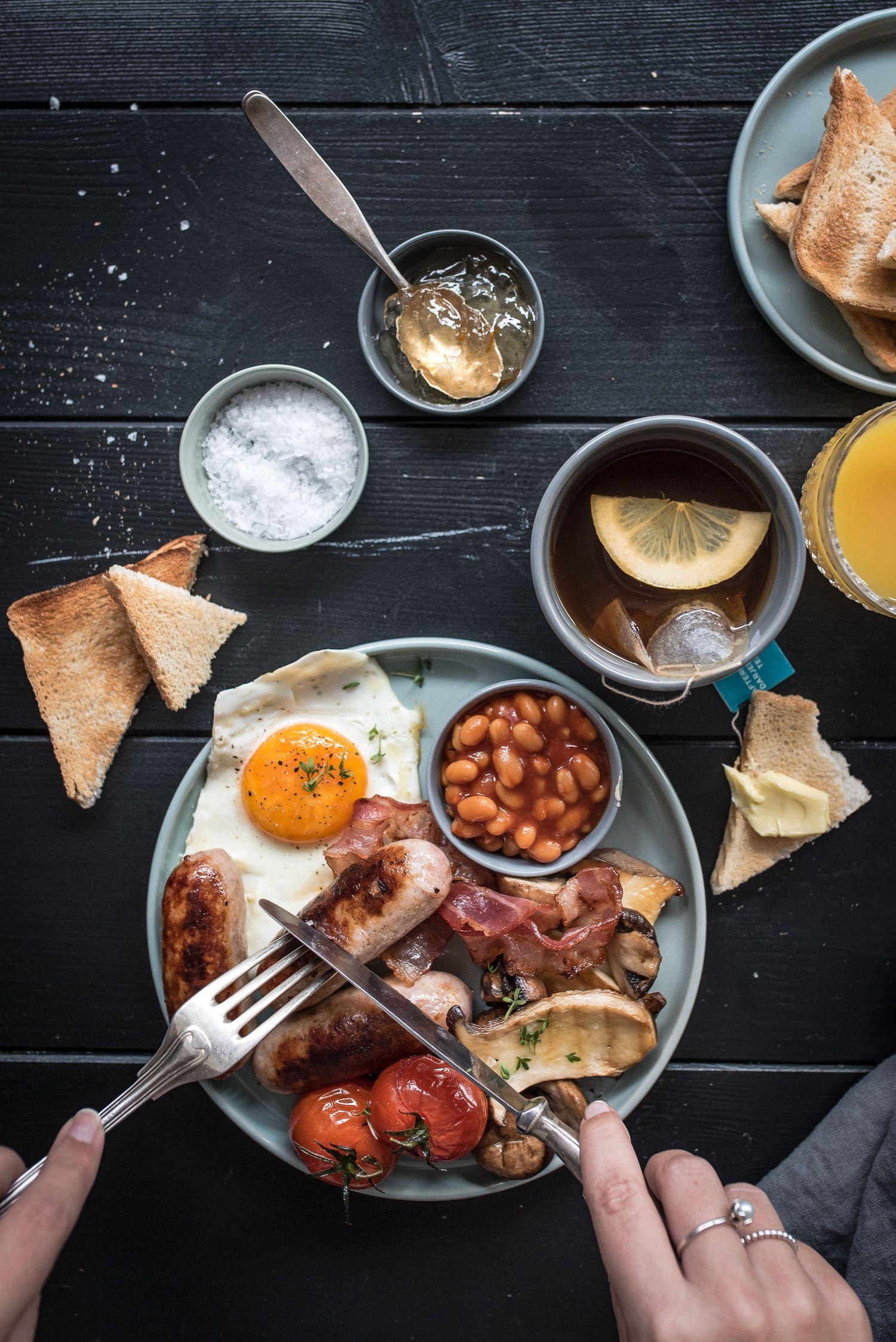 Full English Breakfast Frühstücksfreuden Mit Würstchen Baked