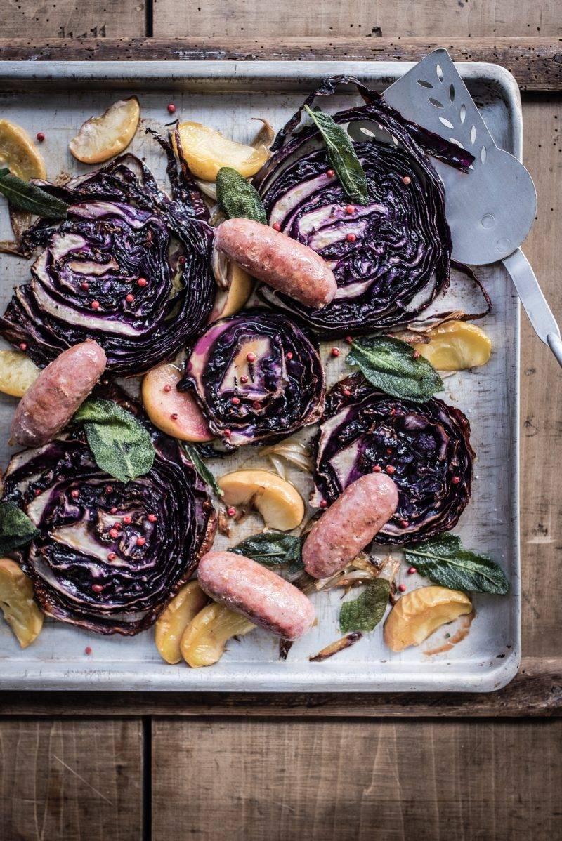 Rotkohl geröstet vom Blech Salsiccia trickytine