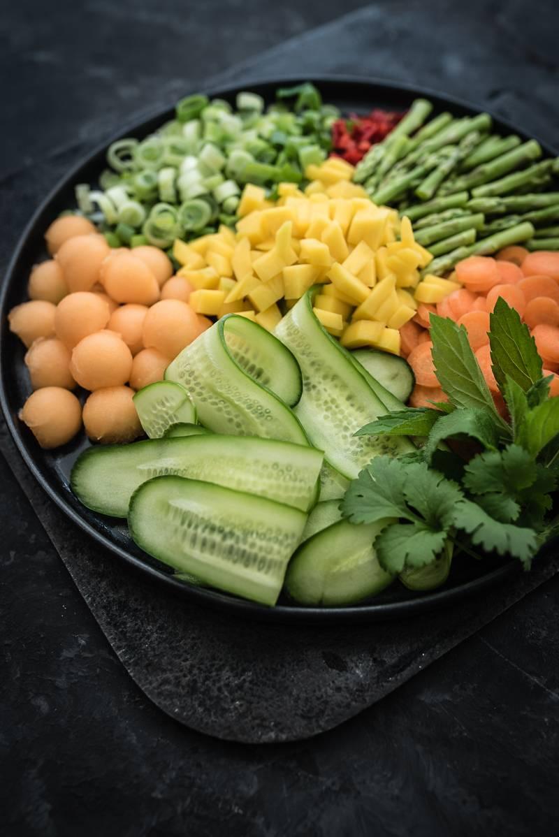 Asia Reisnudel-Bowl Garnelen trickytine Foodblog Stuttgart