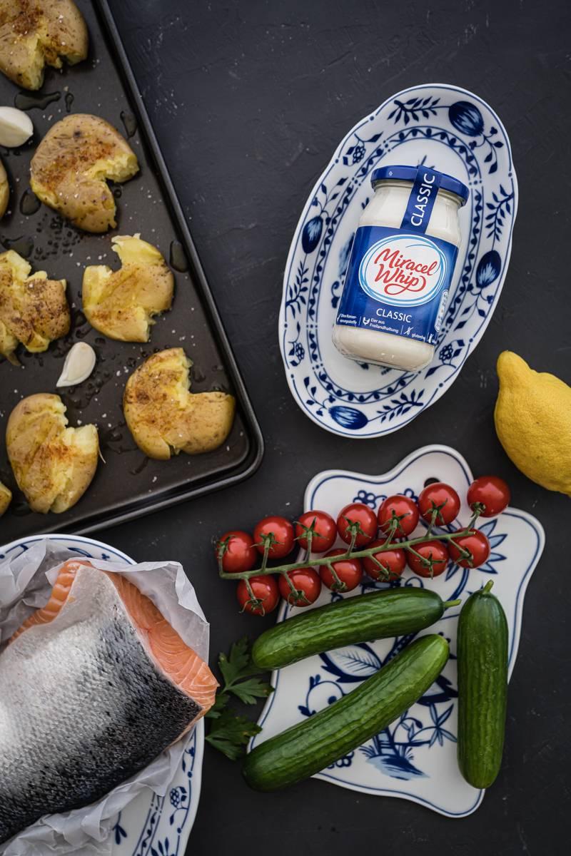 Ofenkartoffel-Salat Pulled Lachs Miracel Whip trickytine