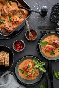 Schweinemedaillons Paprika Rahmsauce Ofen trickytine Foodblog Stuttgart