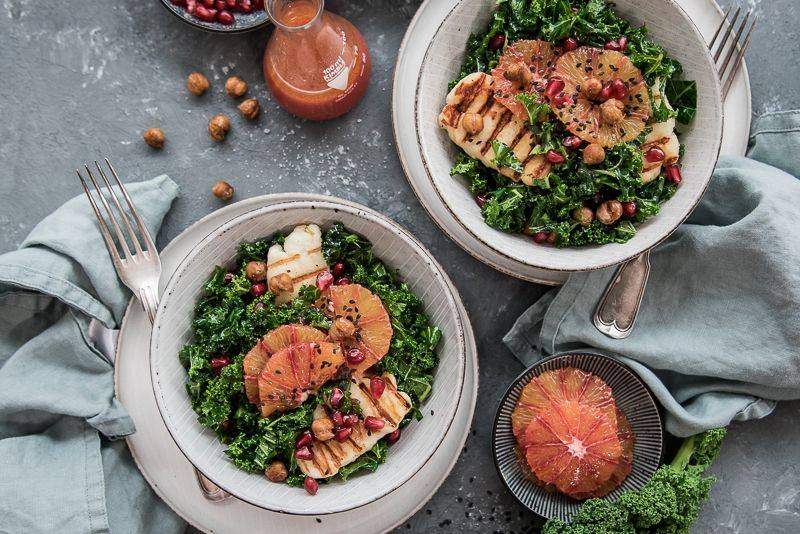 Vegetarische Grünkern Salat Bowl