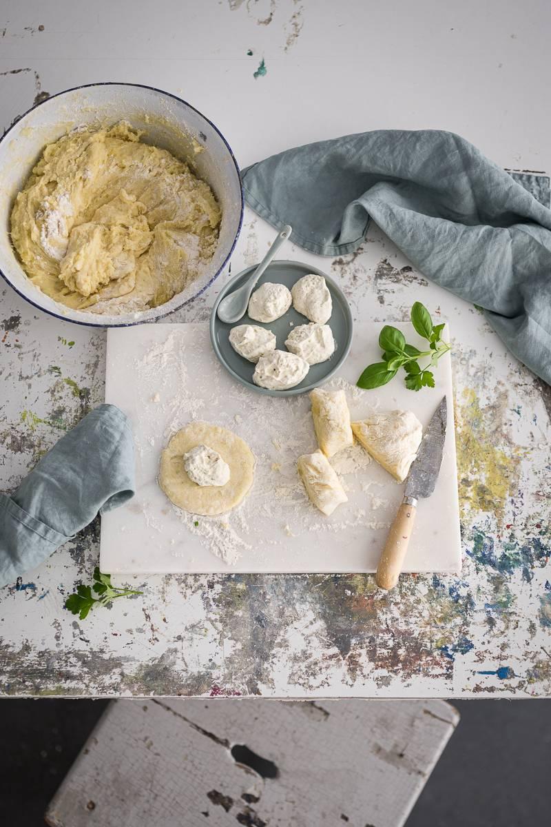 Kartoffelküchlein gefüllt Frischkäse trickytine Rezept
