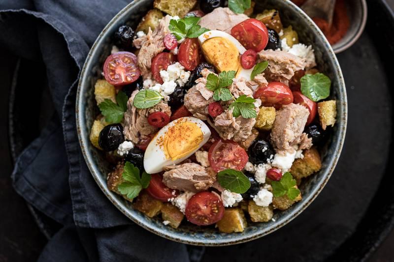 Rezept Thunfisch Panzanella mediterraner Brotsalat trickytine