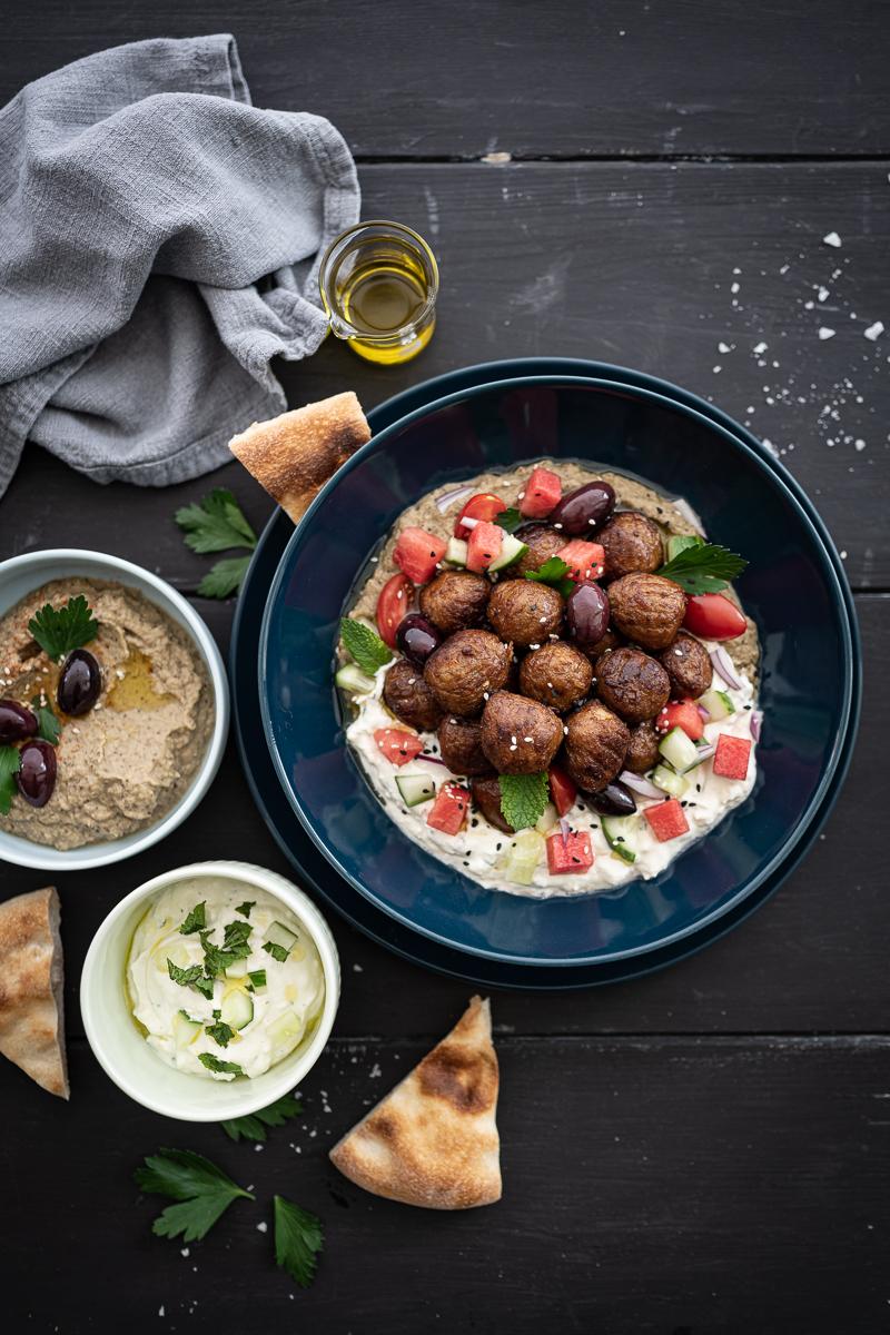 Plantbullar Mezze Platte trickytine Baba Ghanoush
