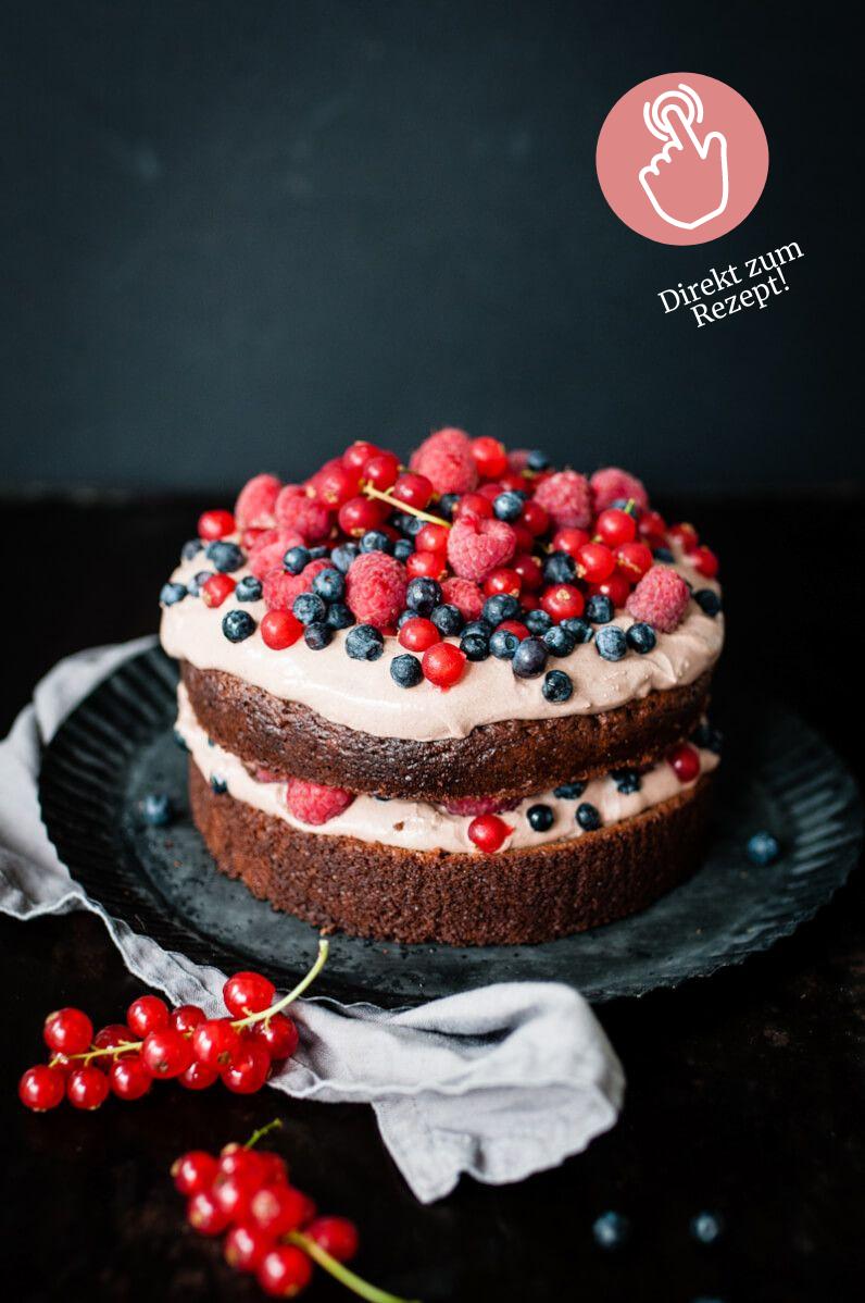 Brownie-Rezepte, köstlicher Brownie Torte mit Beeren