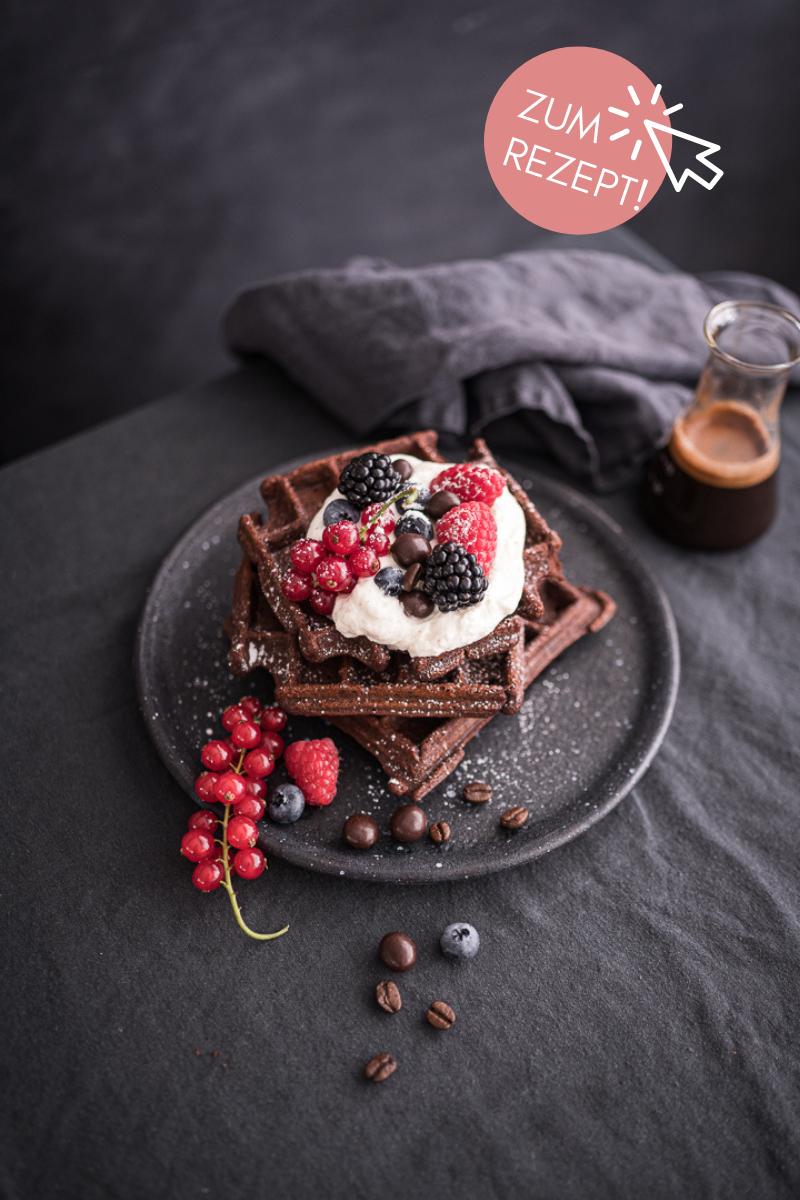 Brownie-Rezepte, leckere Brownie-Waffeln mit einem Schuss Espresso