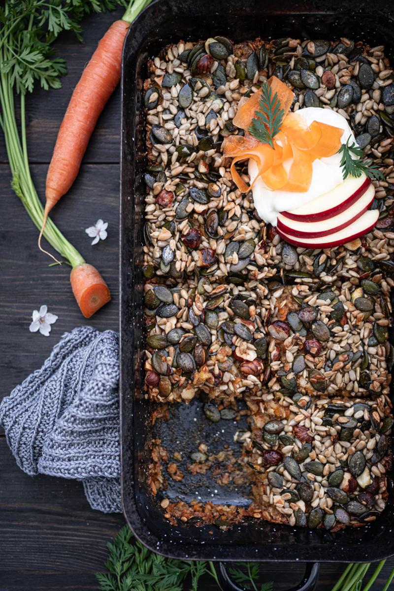5 Wochenplan Rezepte, Carrot Cake Haferflocken-Auflauf