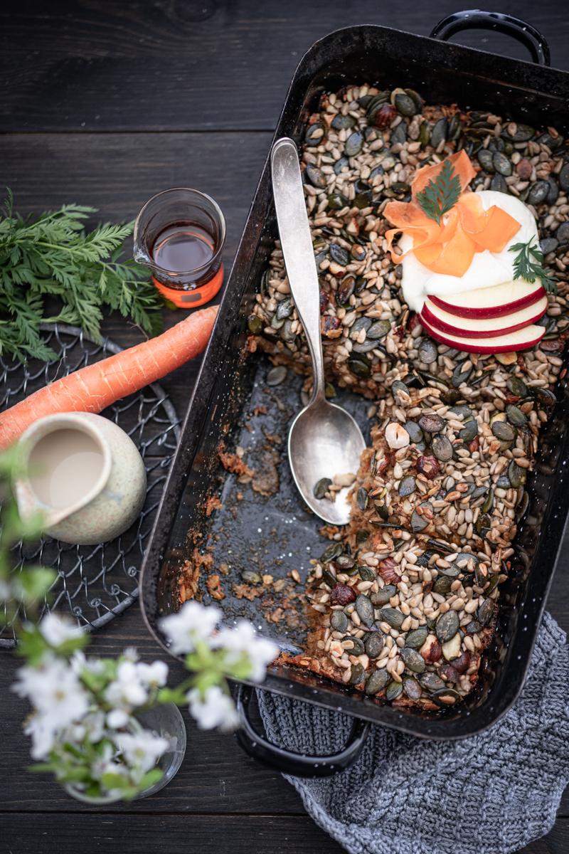 Carrot Cake Haferflocken-Auflauf Baked Oatmeal