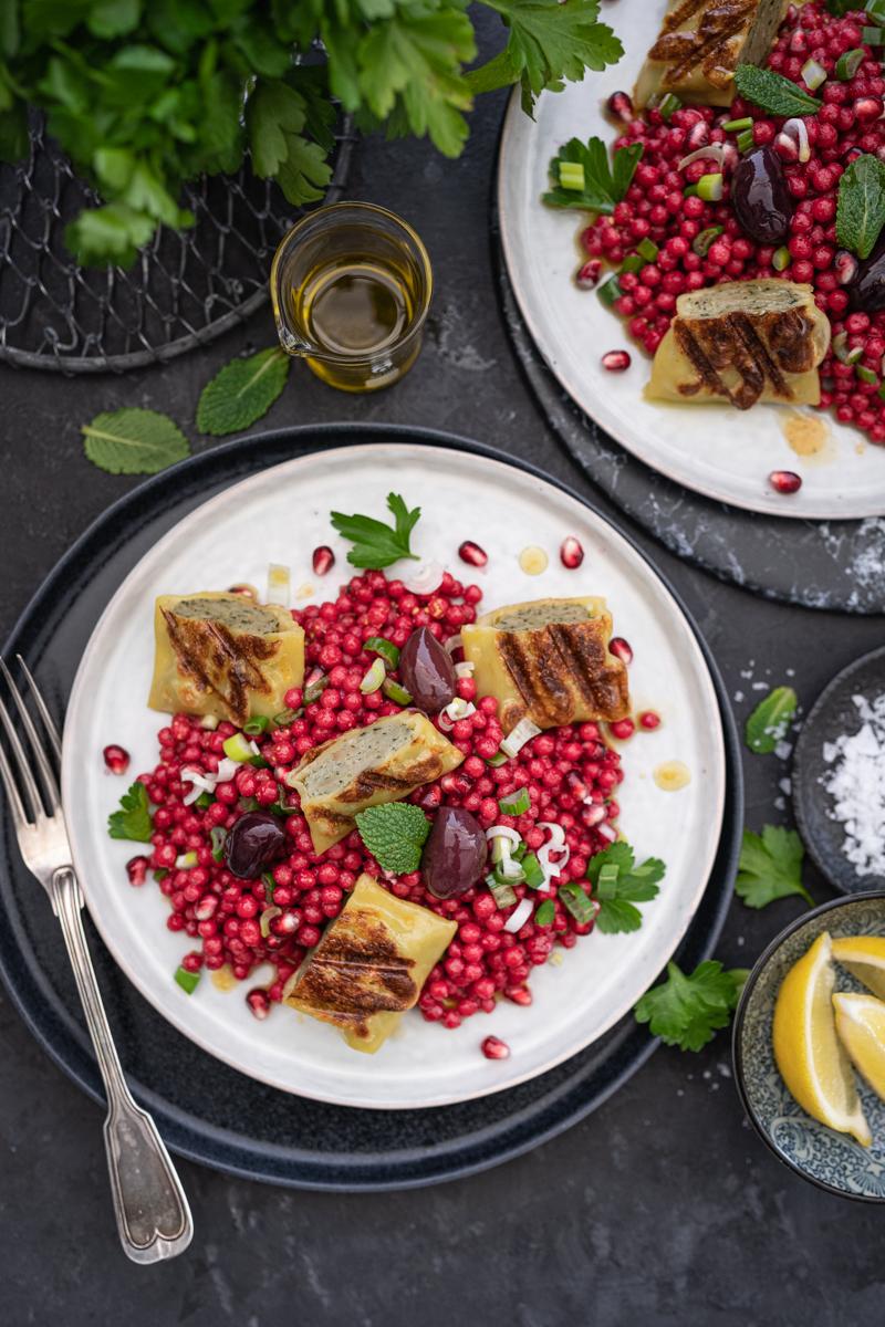 Perl-Couscous Maultaschen Salat trickytine